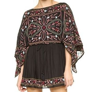 Free People Black Embroidered Frida Dress Small